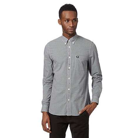 Fred Perry - Black fine gingham regular fit shirt