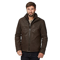 Barneys - Big and tall brown mock layer 'harrington' jacket