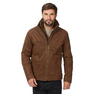Barneys Big and tall tan mock layer harrington jacket