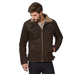 Barneys - Big and tall brown buckle neck 'harrington' jacket