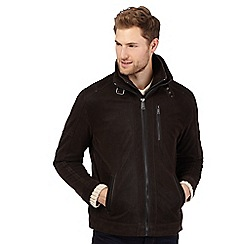 Barneys - Big and tall dark brown mock 2-in-1 harrington jacket