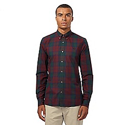 Fred Perry - Navy tartan checked long sleeved shirt