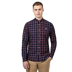 Fred Perry - Big and tall navy checked regular fit shirt