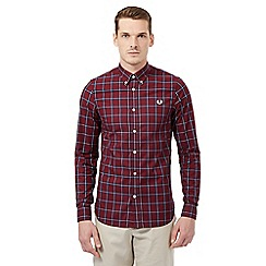 Fred Perry - Big and tall maroon checked regular fit shirt