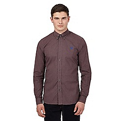 Fred Perry - Big and tall dark red buttoned gingham shirt