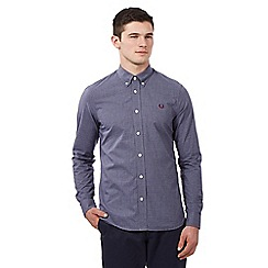 Fred Perry - Big and tall dark blue micro gingham shirt