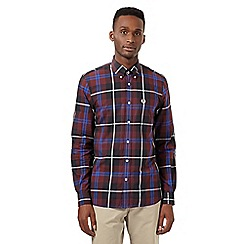 Fred Perry - Big and tall dark red large checked regular shirt