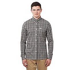 Fred Perry - Big and tall dark red herringbone check shirt