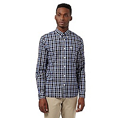 Fred Perry - Big and tall blue herringbone checked regular shirt