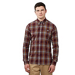 Fred Perry - Big and tall dark red winter check shirt