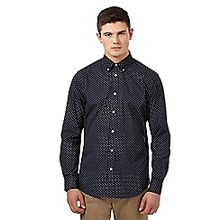 Ben Sherman - Big and tall navy polka dot long sleeved shirt