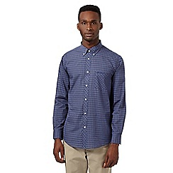 Ben Sherman - Big and tall navy tartan button down collar shirt