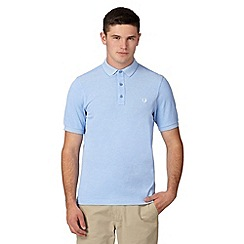 Fred Perry - Light blue oxford checked collar slim fit polo shirt