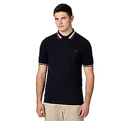Fred Perry - Navy bold twin tipped slim fit pique polo shirt