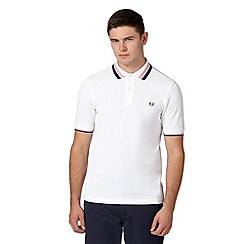 Fred Perry - White bold twin tipped slim fit pique polo shirt