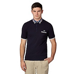 Fred Perry - Navy bold checked collar slim fit polo shirt
