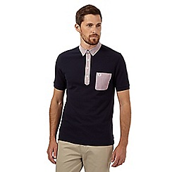 Fred Perry - Navy slim fit woven trim polo shirt