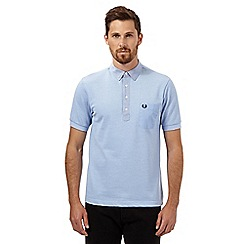 Fred Perry - Light blue slim fit woven trim polo shirt