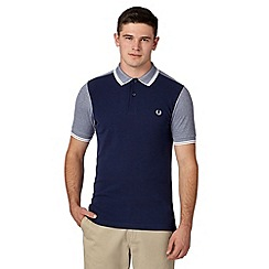 Fred Perry - Navy oxford block colour slim fit polo shirt