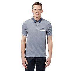 Fred Perry - Navy textured logo polo shirt