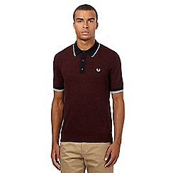 Fred Perry - Dark red knitted polo shirt