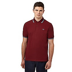 Fred Perry - Dark red twin tipped regular fit polo shirt