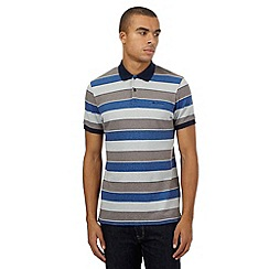 BEN SHERMAN - Grey block striped polo shirt