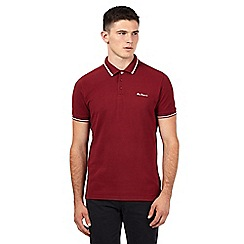 Ben Sherman - Big and tall dark red striped logo polo shirt