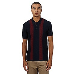 Ben Sherman - Big and tall navy red striped polo shirt