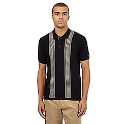Ben Sherman - Big and tall black dogtooth knit polo shirt
