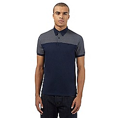 Ben Sherman - Navy spotted button down polo shirt