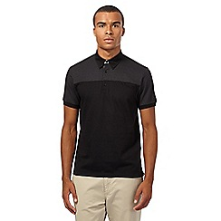 Ben Sherman - Big and tall black spotted button down polo shirt