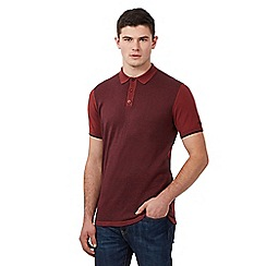 BEN SHERMAN - Red grindle knit polo shirt