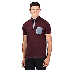 Ben Sherman - Big and tall maroon button down pocket jersey polo shirt
