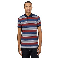 BEN SHERMAN - Big and tall red colour block striped polo shirt