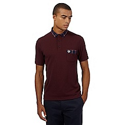 Fred Perry - Maroon polo shirt with check trim