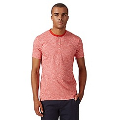 Ben Sherman - Bright red marl grandad collar t-shirt