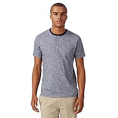 Ben Sherman - Navy marl grandad collar t-shirt