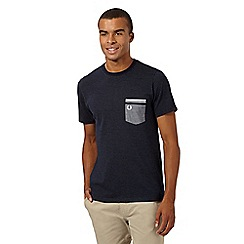 Fred Perry - Navy dotted chambray pocket regular fit t-shirt