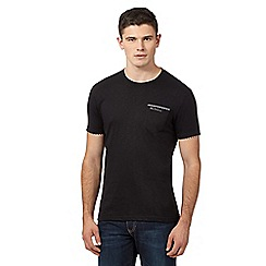 Ben Sherman - Big and tall black gingham trim t-shirt