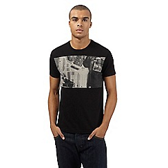 Ben Sherman - Big and tall black monochrome guitar print t-shirt