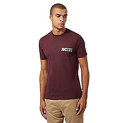 Fred Perry - Dark red checked pocket trim t-shirt