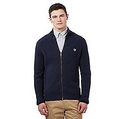 Fred Perry - Navy ribbed zip through sweater