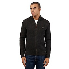 Fred Perry - Grey ribbed zip through sweater