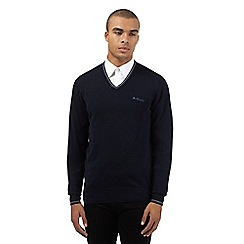 Ben Sherman - Big and tall navy tipped v neck jumper
