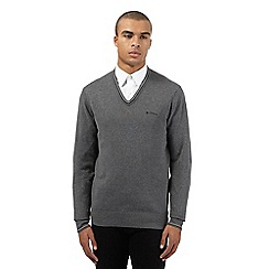 Ben Sherman - Big and tall grey tipped v neck jumper