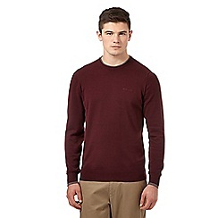 Ben Sherman - Big and tall maroon tipped crew neck jumper