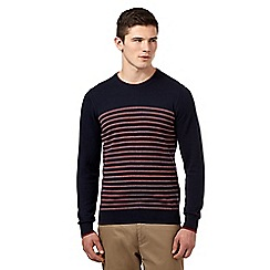 Ben Sherman - Big and tall navy striped crew neck jumper