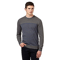 BEN SHERMAN - Big and tall grey striped crew neck jumper
