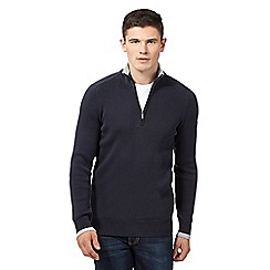 Ben Sherman - Big and tall navy tipped zip neck sweatshirt